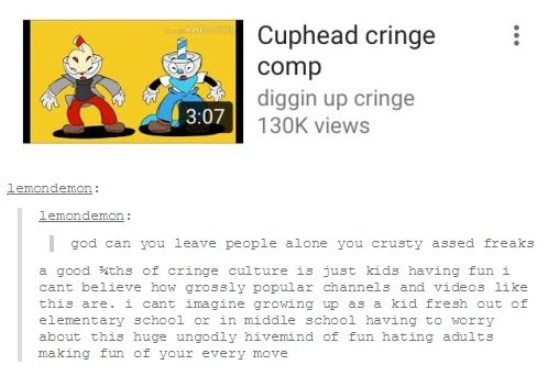 How I feel about Cringe Culture | Cuphead | Know Your Meme