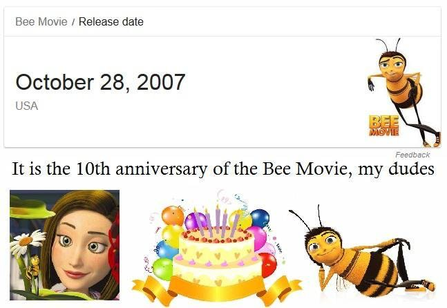Bee Movie Release Date October 28 2007 USA Feedback It Is The 10th Anniversary Of