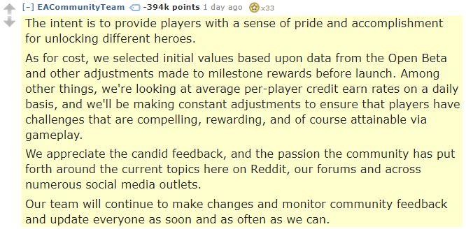 EA Reddit Comment  Most down-voted comment in Reddit history   Star