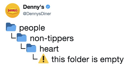 Non tippers heart this folder is empty know your meme dennys dennysdiner dennys people lnon tippers l heart la this folder is empty ccuart Choice Image