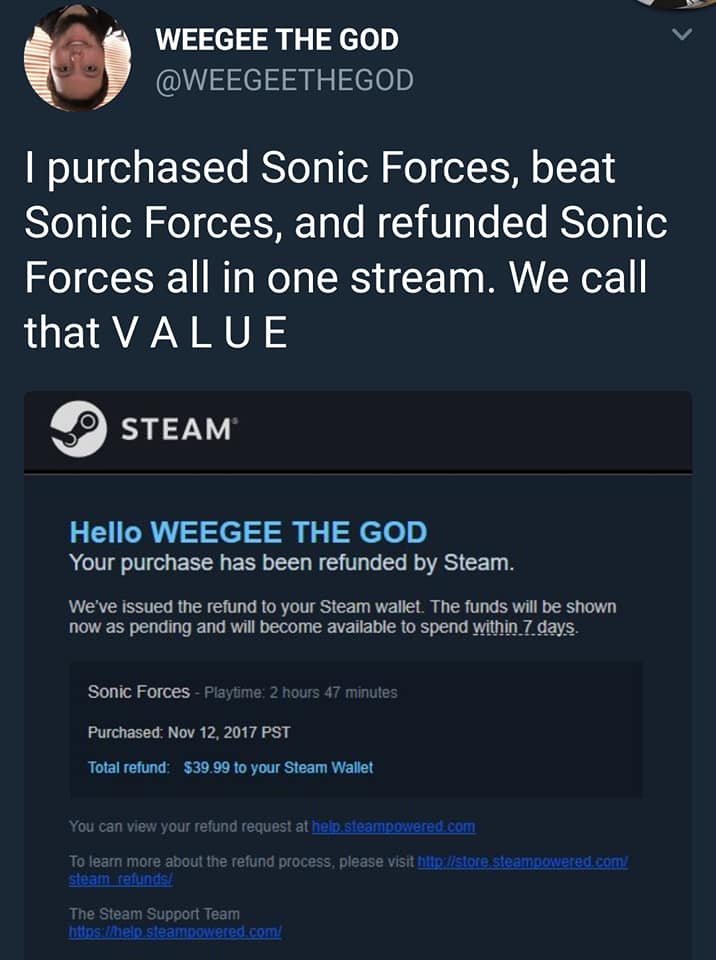 We call that v a l u e sonic forces know your meme weegee the god weegeethegod i purchased sonic forces beat sonic forces and refunded ccuart Choice Image