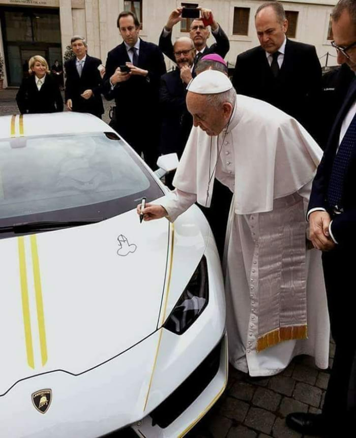 Penis Drawing Pope Francis Signs A Lamborghini Know Your Meme