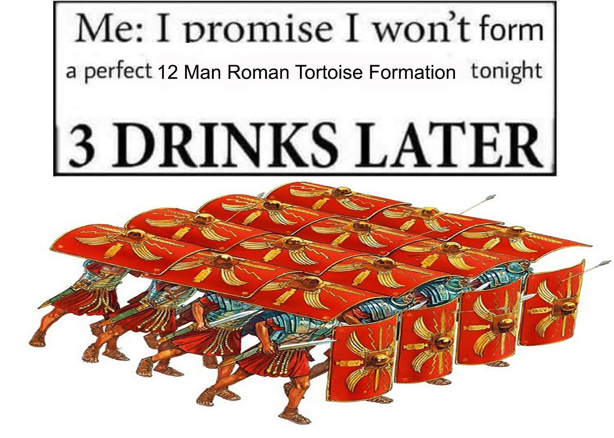 me i promise i wont form a perfect 12 man roman tortoise formation
