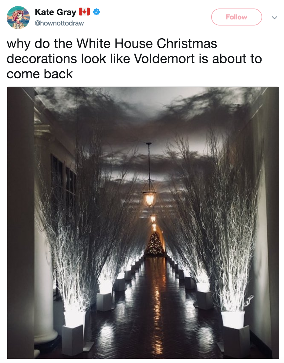 ate gray 11 hownottodraw follow why do the white house christmas decorations look like voldemort - Melania Trump Christmas Decorations