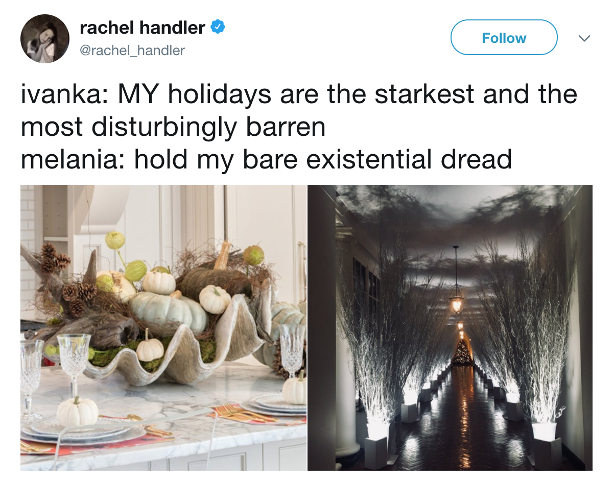 rachel handler follow ivanka my holidays are the starkest and the most disturbingly barren melania