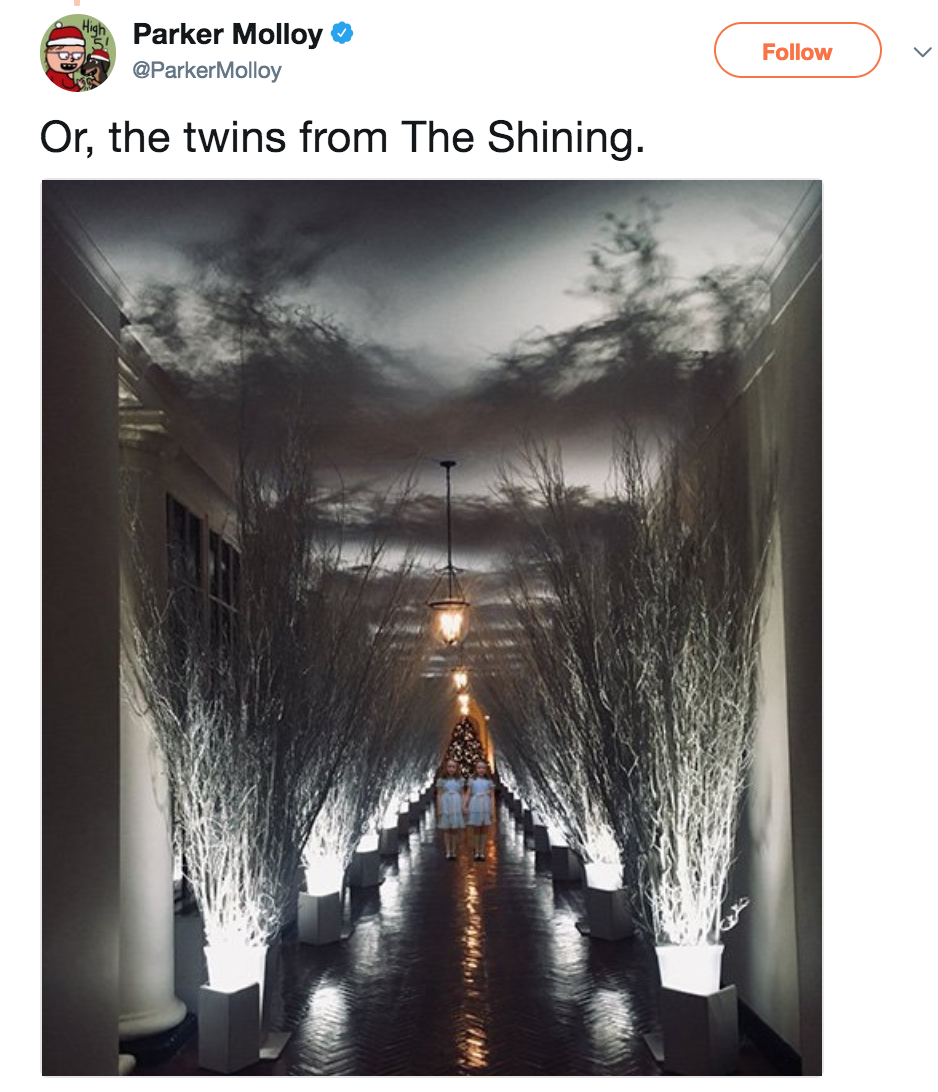 parker molloy parkermolloy follow or the twins from the shining - Melania Trump Christmas Decorations