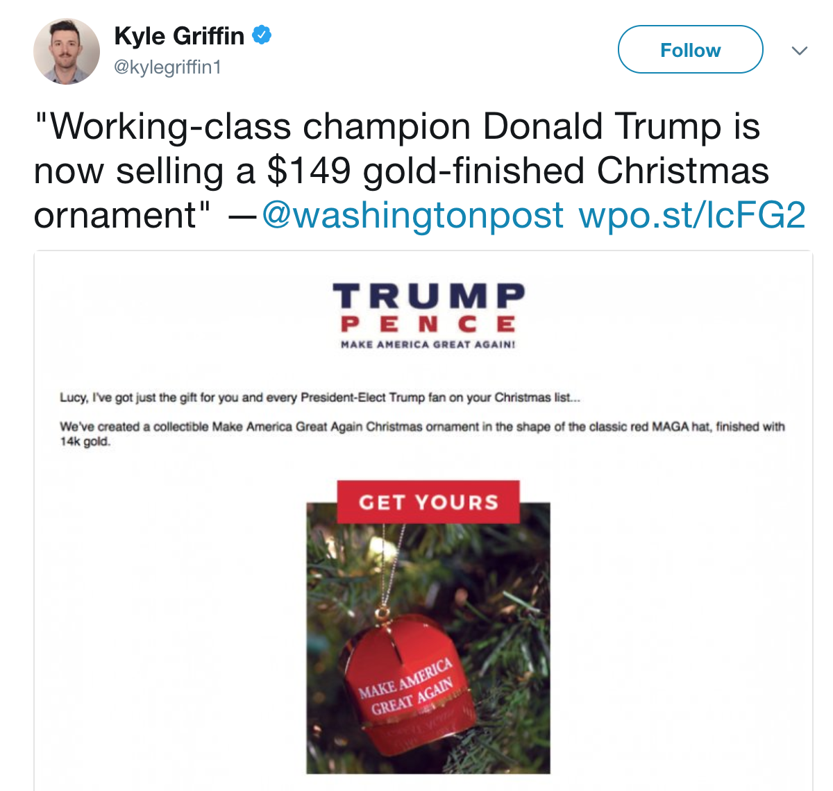 Kyle Griffin Tweet | MAGA Christmas Ornament Reviews | Know Your Meme