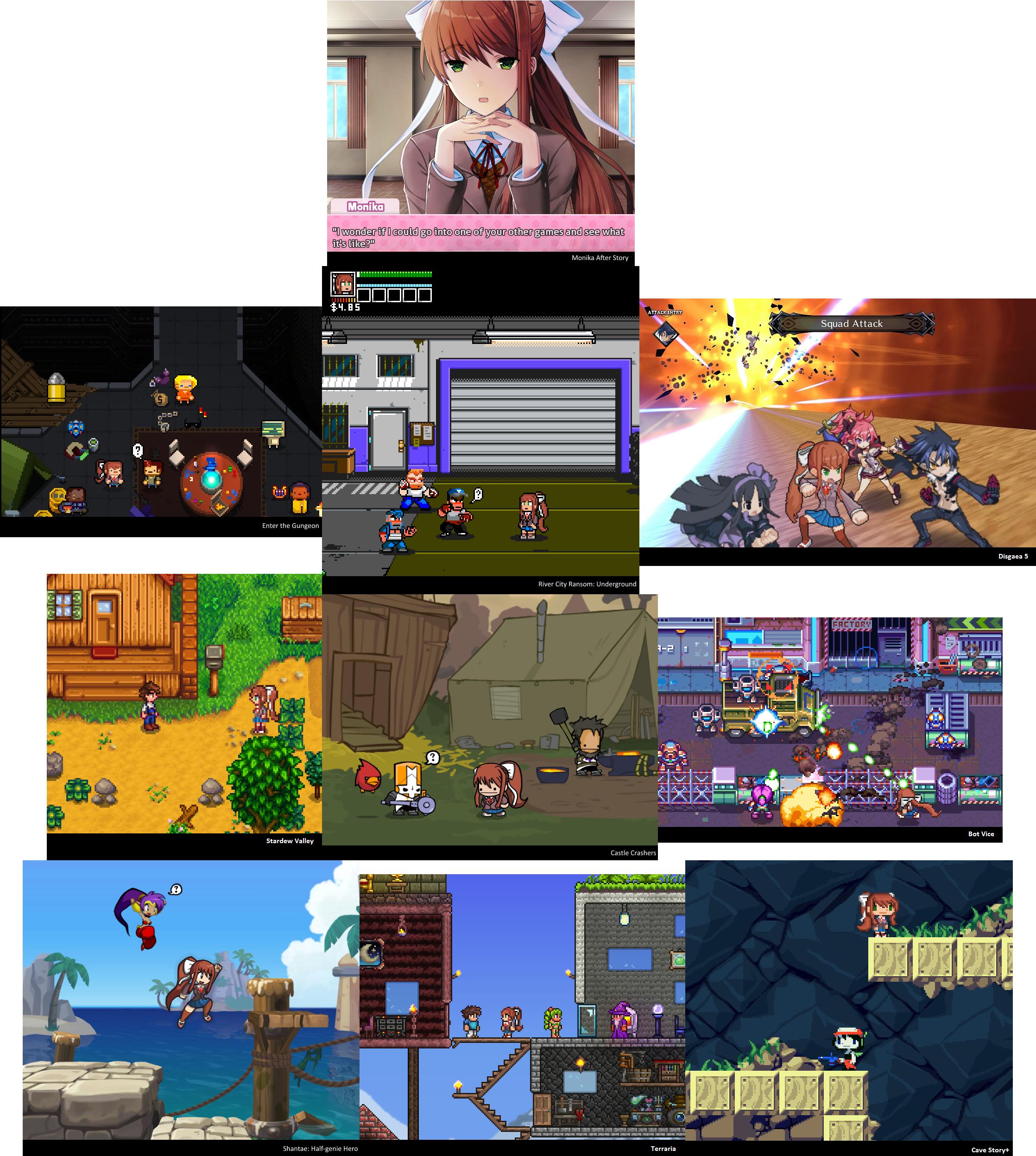 Monika's Adventures in Other Video Games  | Doki Doki