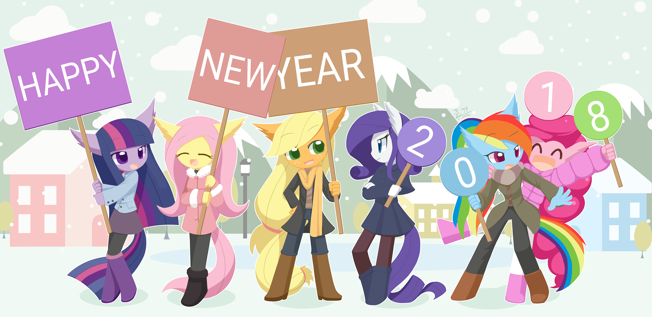 Happy New Year (2018) by HowXu | My Little Pony: Friendship is Magic ...