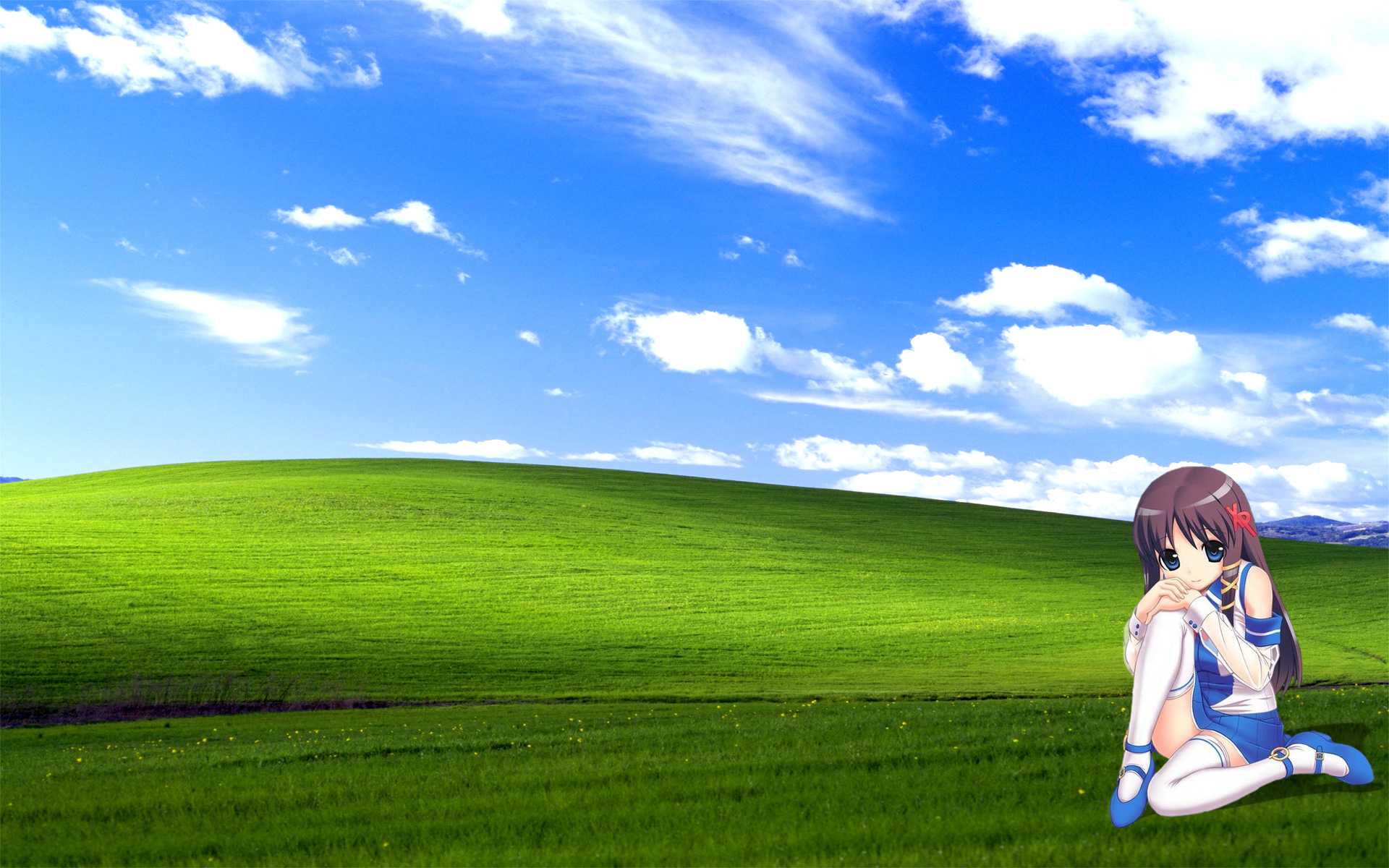 Bliss Sky Grassland Green Nature Cloud Field Grass Meadow Lawn Daytime Prairie Hill Atmosphere Of Earth
