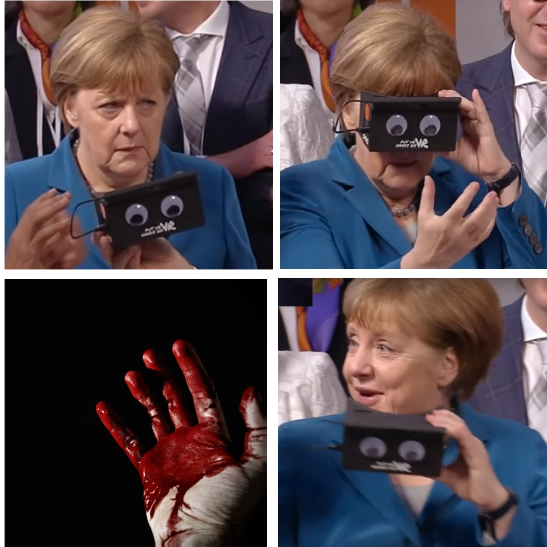 Bloody Hands Angela Merkel Vr Goggles Know Your Meme