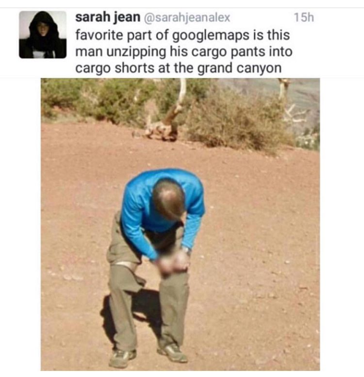 Man On Google Maps Street View Unzipping His Cargo Pants Making Them Into Cargo Shorts Google Maps Know Your Meme