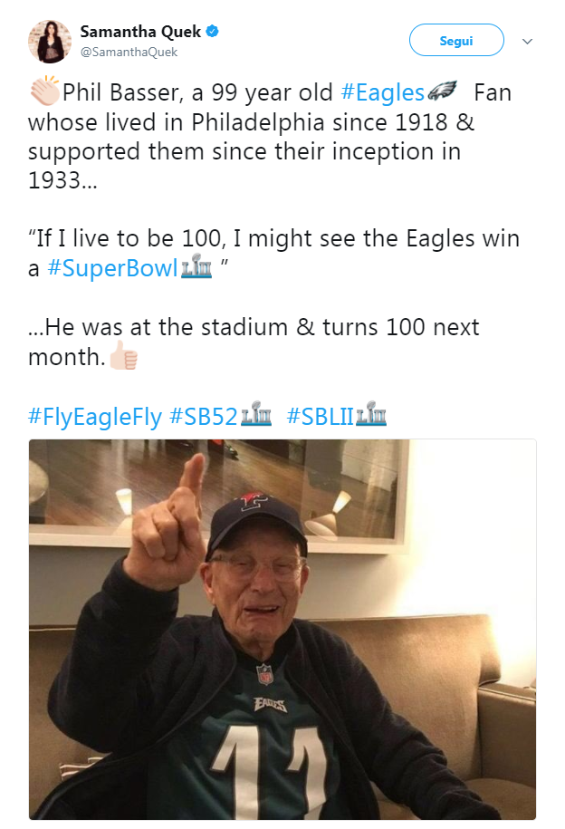 Samantha Quek SamanthaQuek Segui Phil Basser A 99 Year Old Eagles43 Fan Whose
