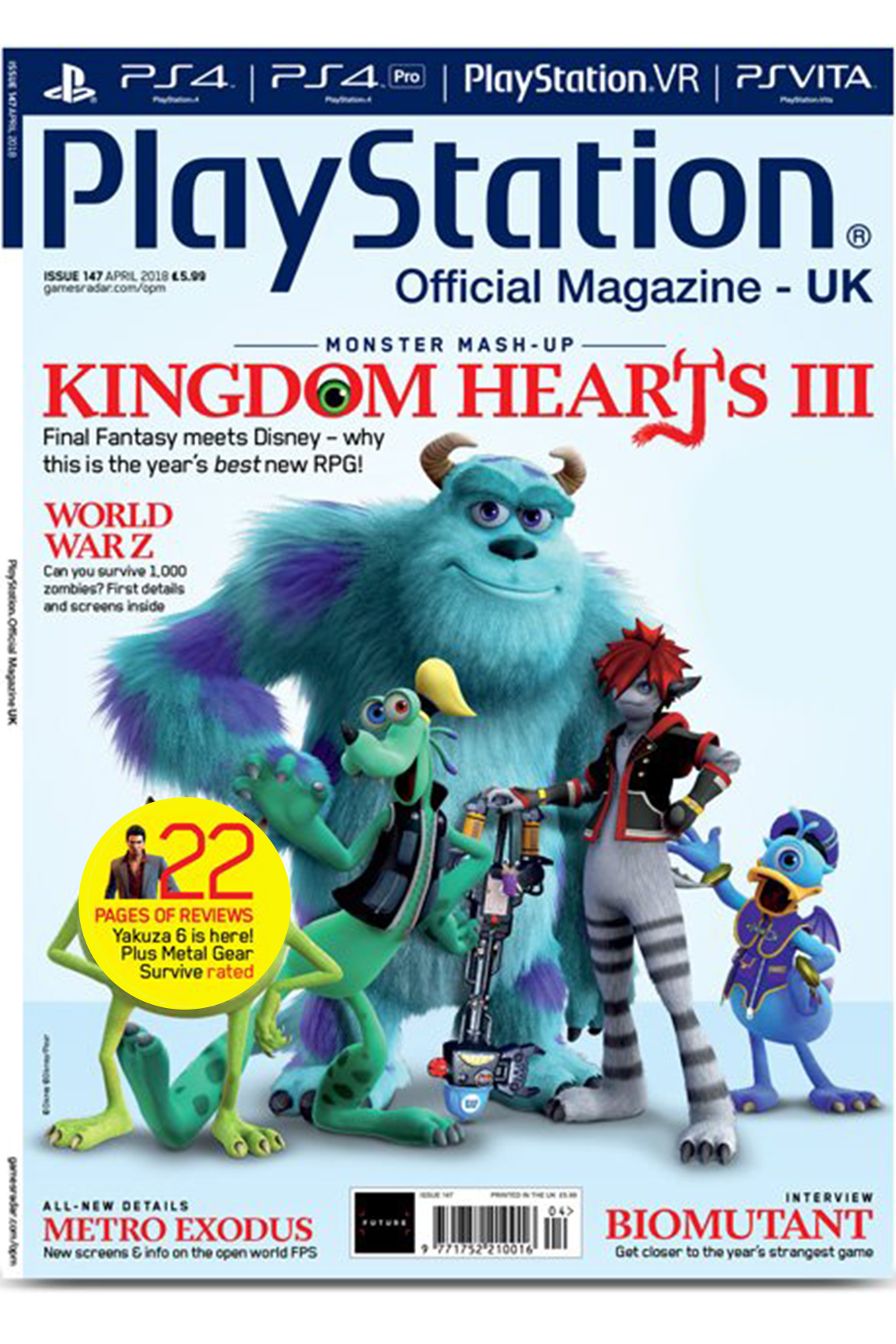 uk playstation magazine cover of kingdom hearts 3 looks great