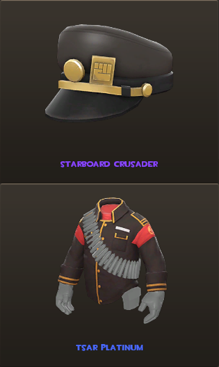 The Starboard Crusader and Tsar Platinum cosmetics for the Heavy