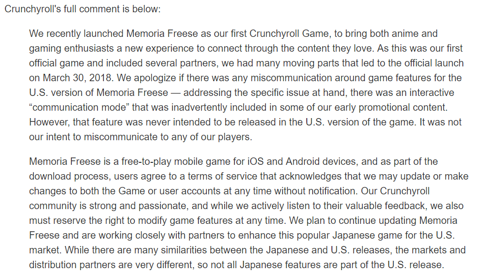 Crunchyroll's statement on DanMachi: Memoria Freese removal feature