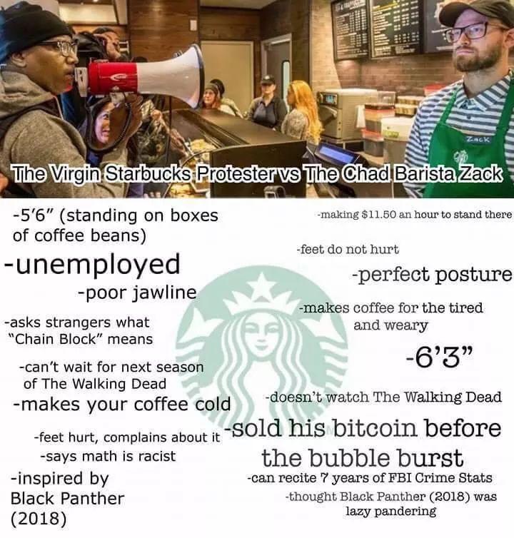 Virgin Starbucks Protester Vs Chad Barista Zack Starbucks