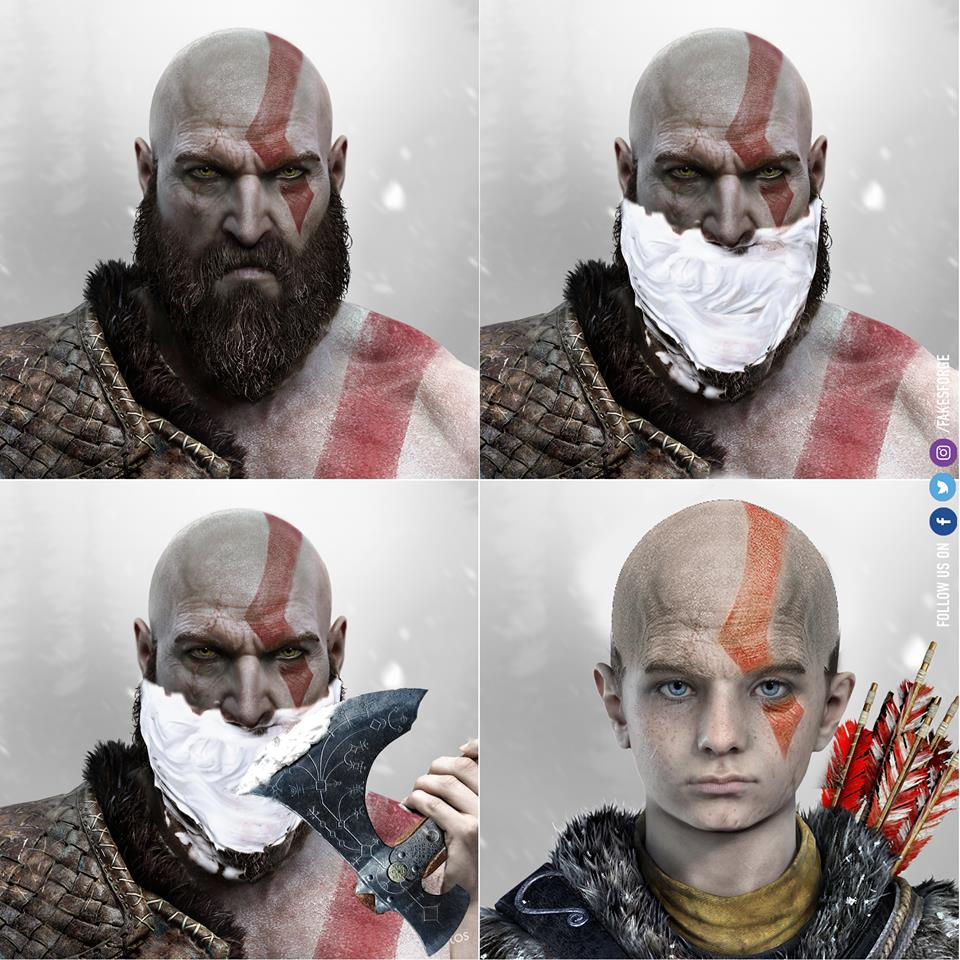 Kratos Shaves His Beard God Of War Know Your Meme