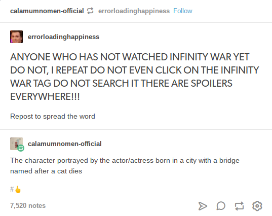 Calamumnomen Official Errorloadinghappiness Follow Orloadinghappiness Err ANYONE WHO HAS NOT WATCHED INFINITY WAR YET DO