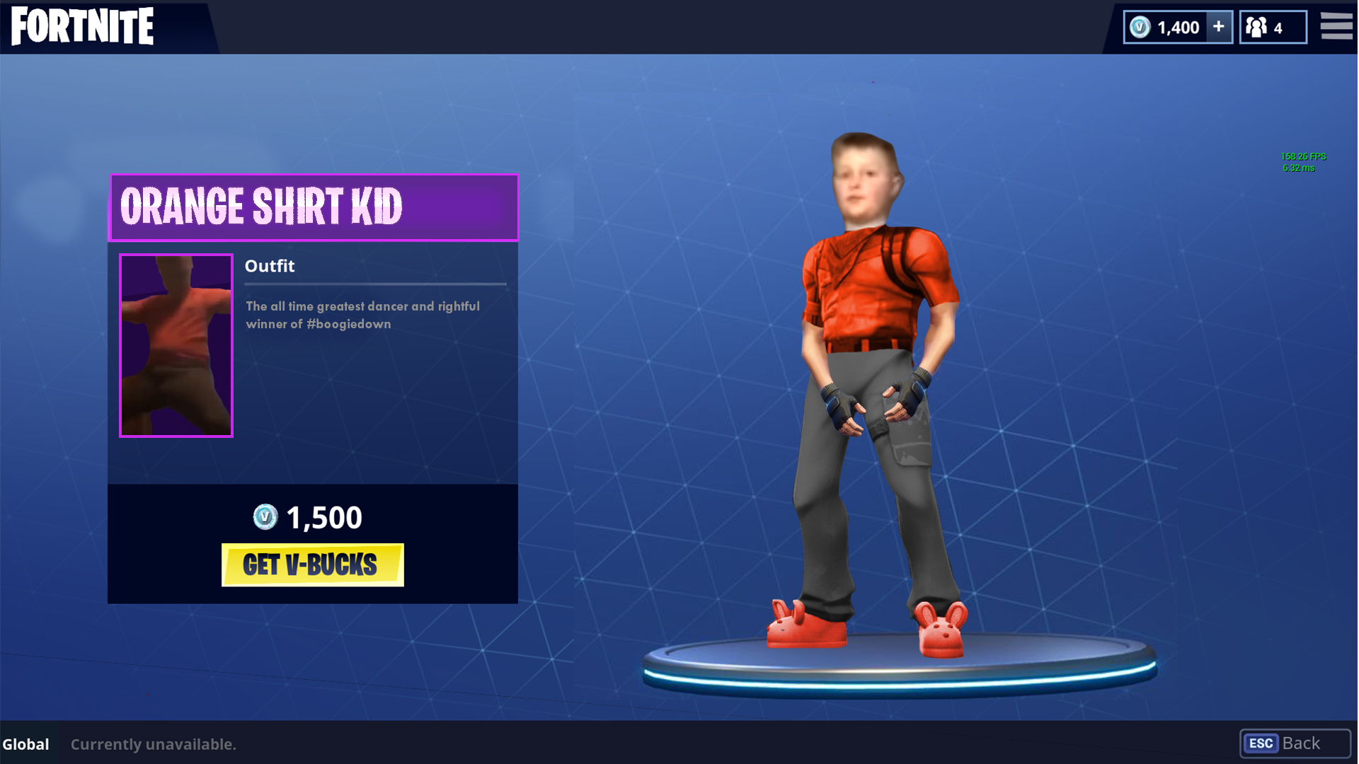 FORTNITE IO 1,400 1,4   158.26 FPS 5.32 Ms ORANGE SHIRT KID Outfit
