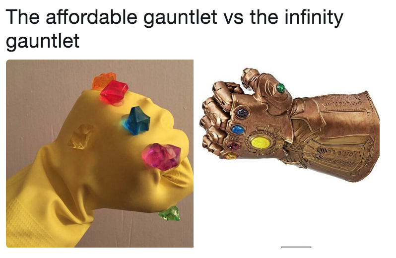 the affordable gauntlet vs the infinity gauntlet the infinity