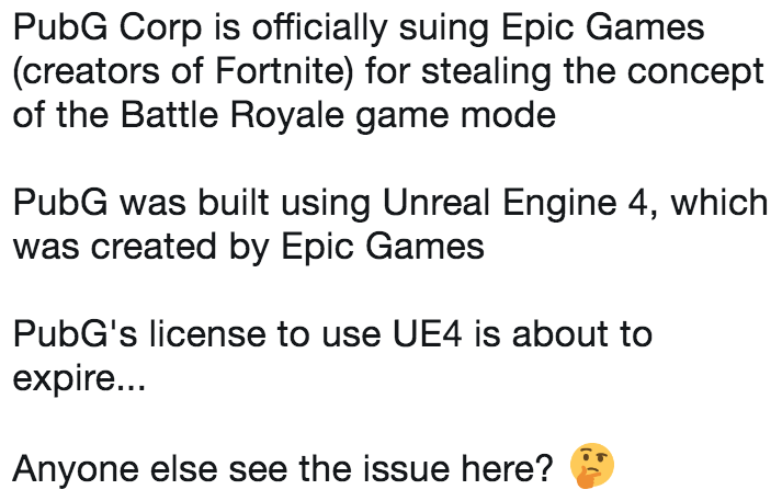 pubg corp is officially suing epic games creators of fortnite for stealing the concept of the battle royale game mode pubg was built using unreal engine 4 - pubg sue fortnite