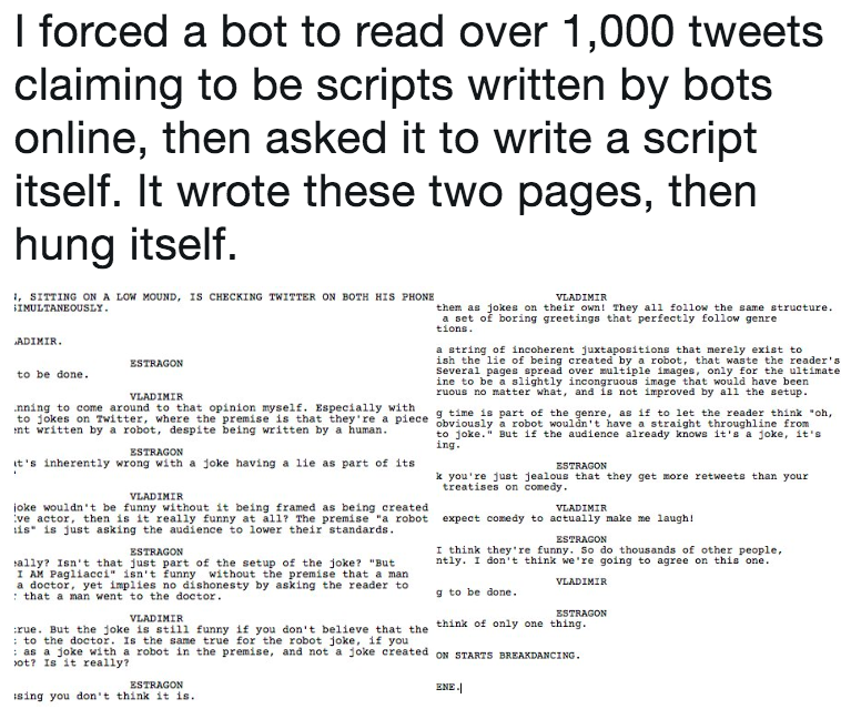 i forced a bot to read over 1 000 tweets claiming to be scripts
