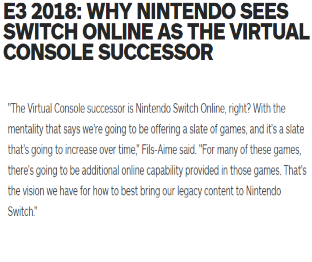 The Nintendo Switch online service is the virtual console