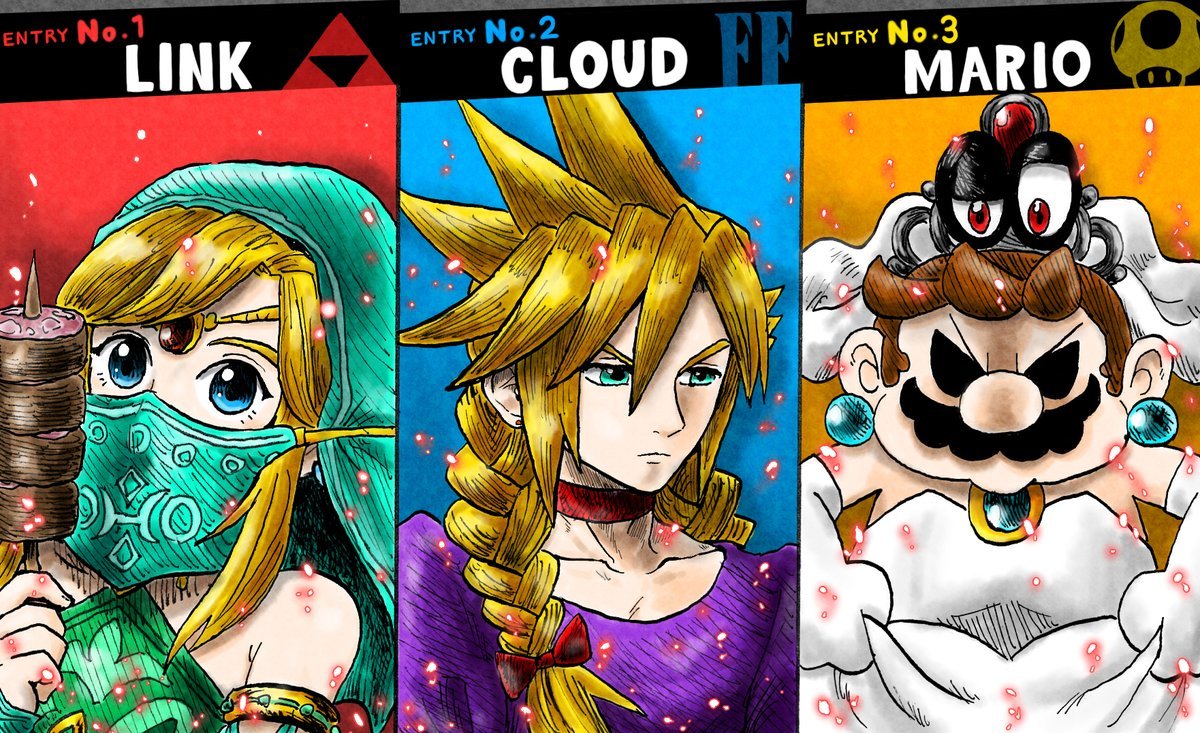 link cloud and mario all dressed up in girl clothes super smash