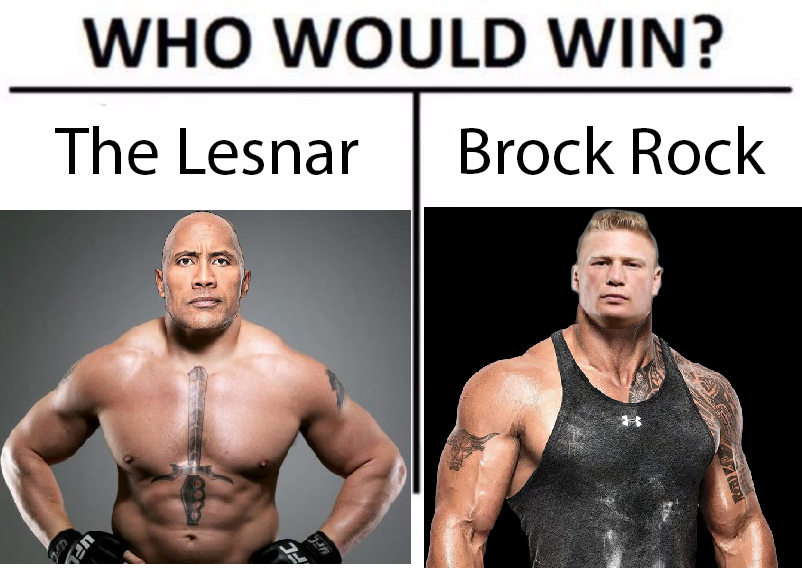 The Lesnar Vs Brock Rock Who Would Win Know Your Meme