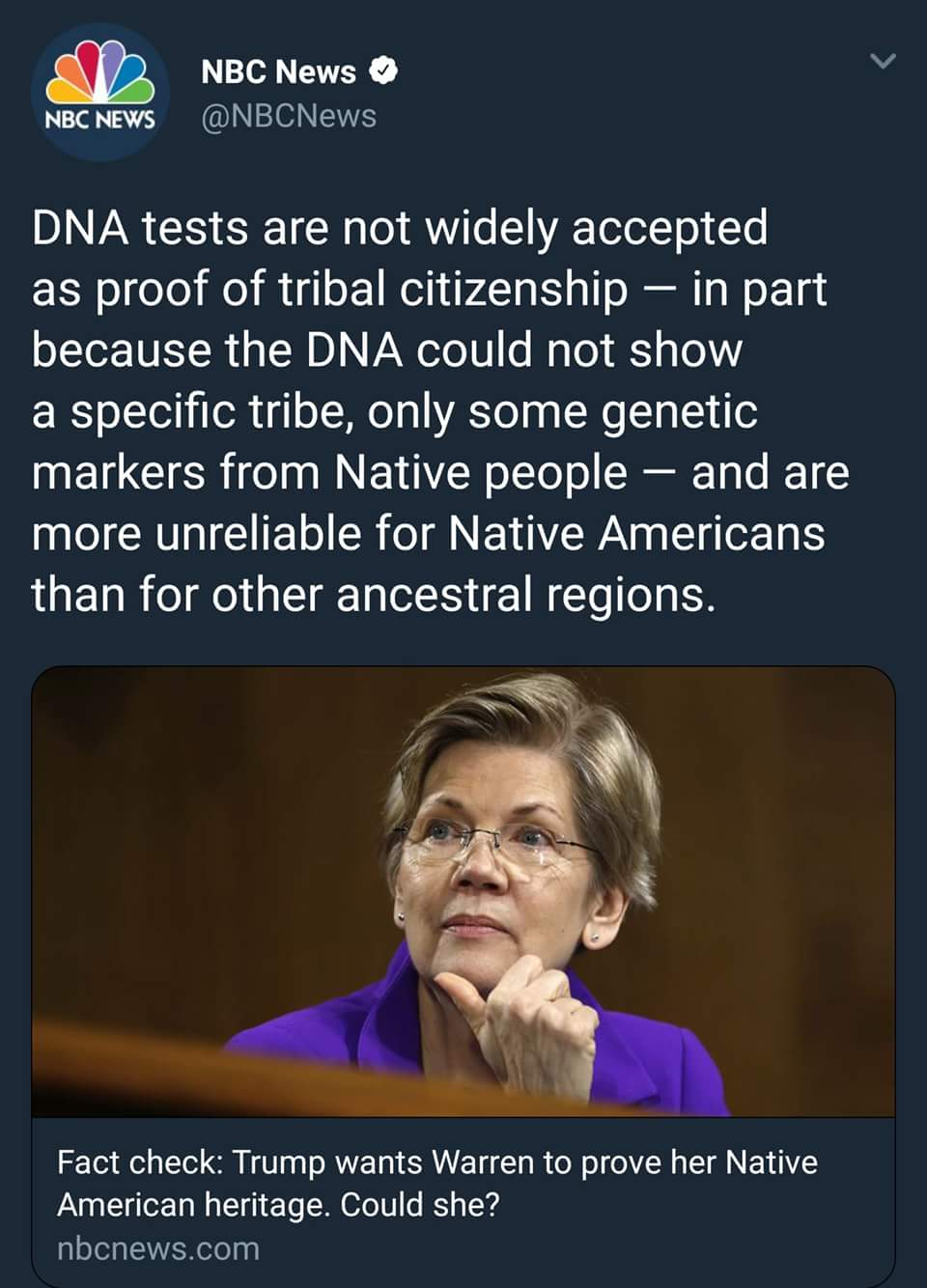 Nbc News Nbc News Qnbcnews Dna Tests Are Not Widely Accepted As Proof Of Tribal Citizenship