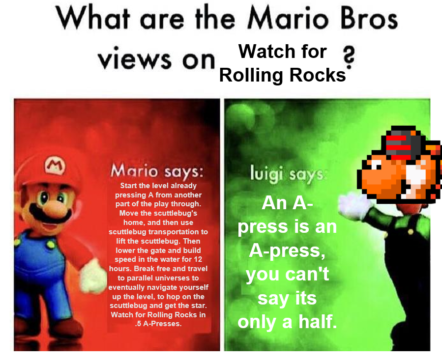 Watch For Rolling Rocks Mario Bros Views Know Your Meme