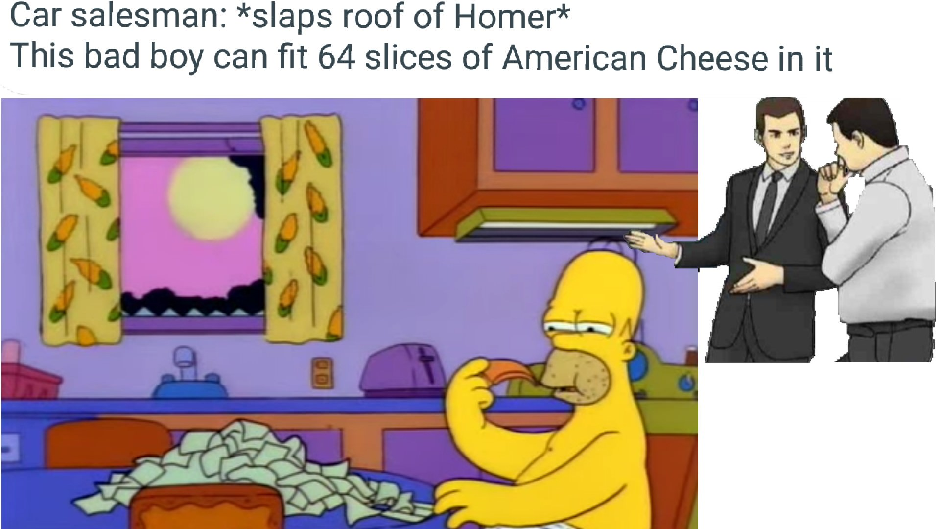 Car Salesman Slaps Roof Of Homer This Bad Boy Can Fit 64 Slices