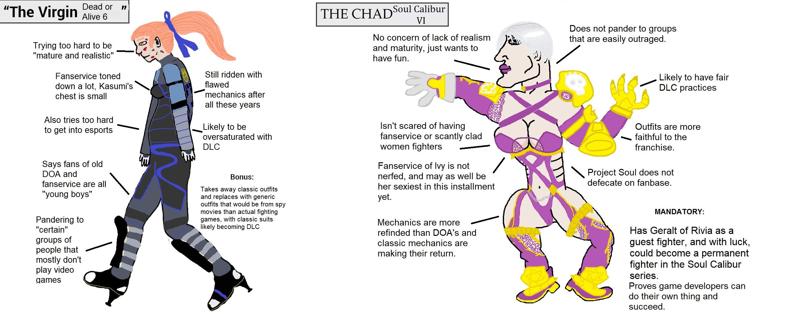 The Virgin Dead or Alive 6 vs  The Chad Soul Calibur VI