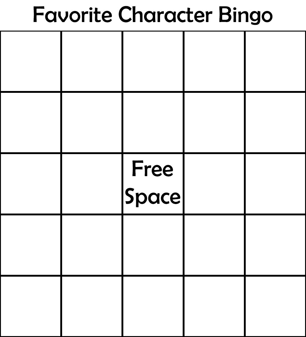 template by smoople favorite character bingo know your meme