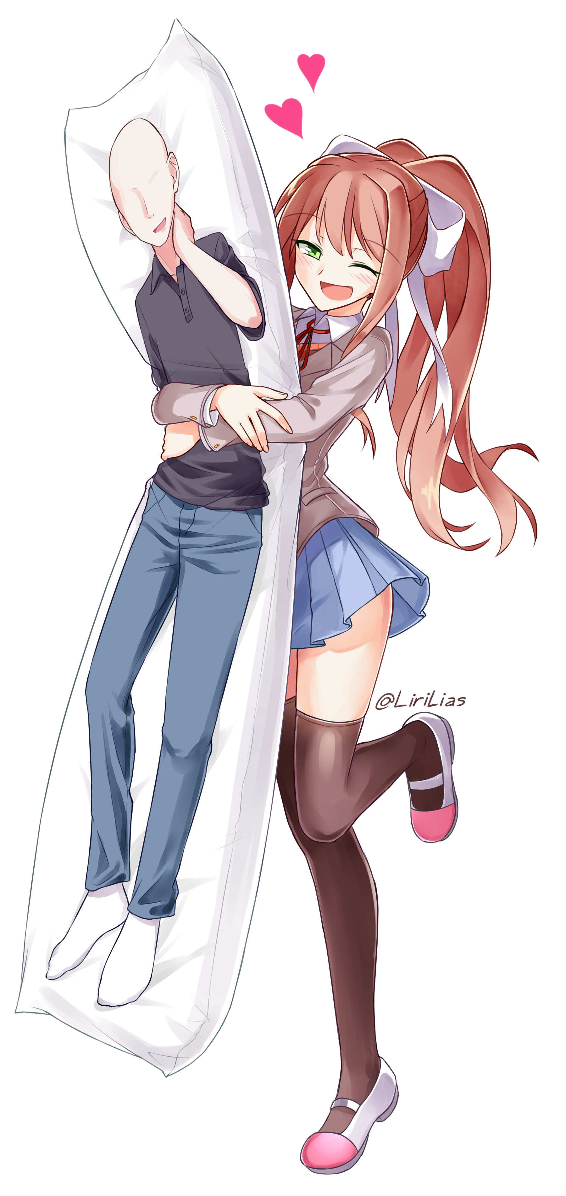 Monika With A Player Pillow Doki Doki Literature Club Know Your Meme