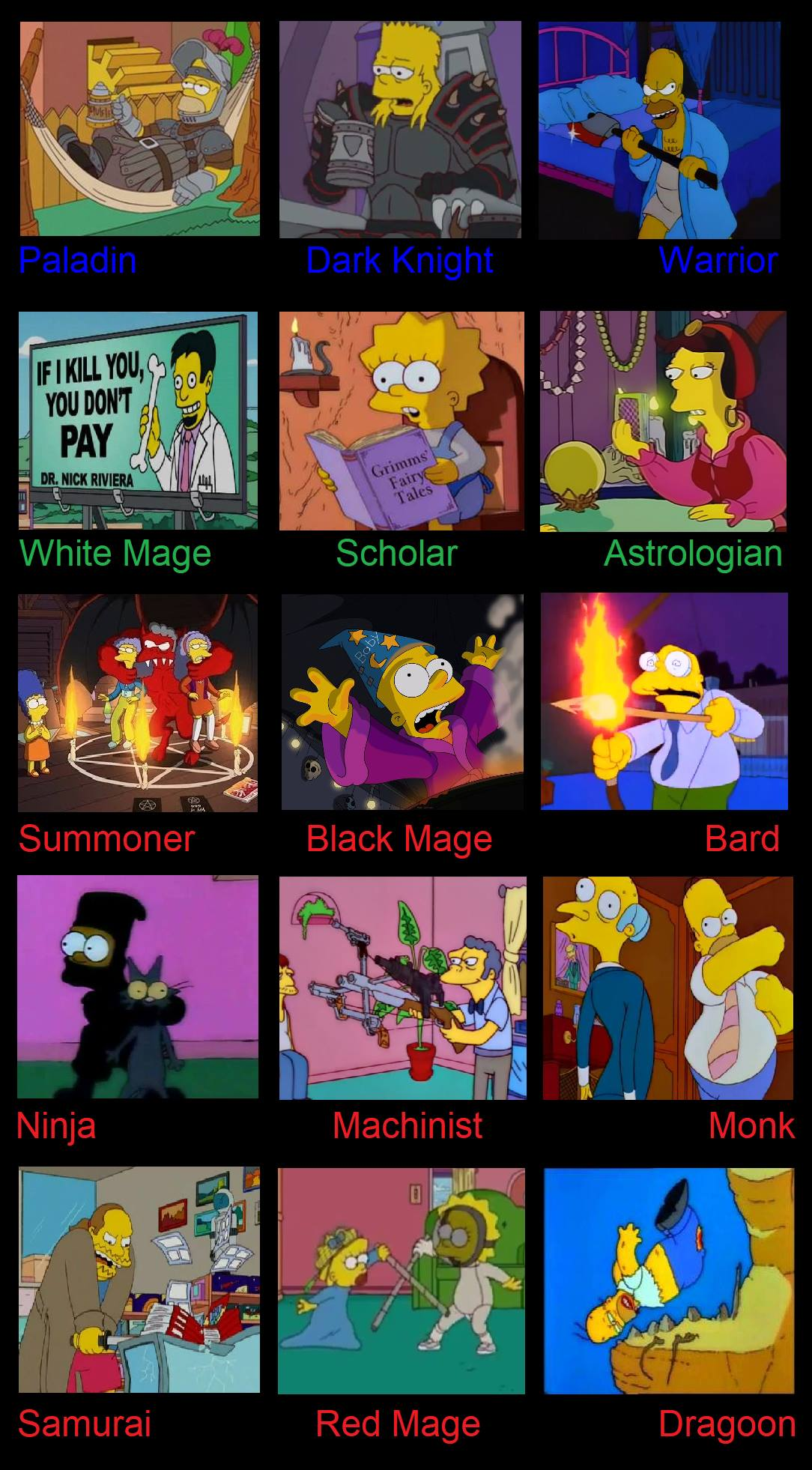 Comparing Ffxiv Jobs To The Simpsons Final Fantasy Xiv Know Your