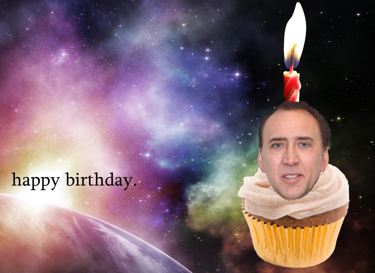 nicolas cage birthday Nicolas Cage in front of a nebula on a cupcake | Happy Birthday  nicolas cage birthday