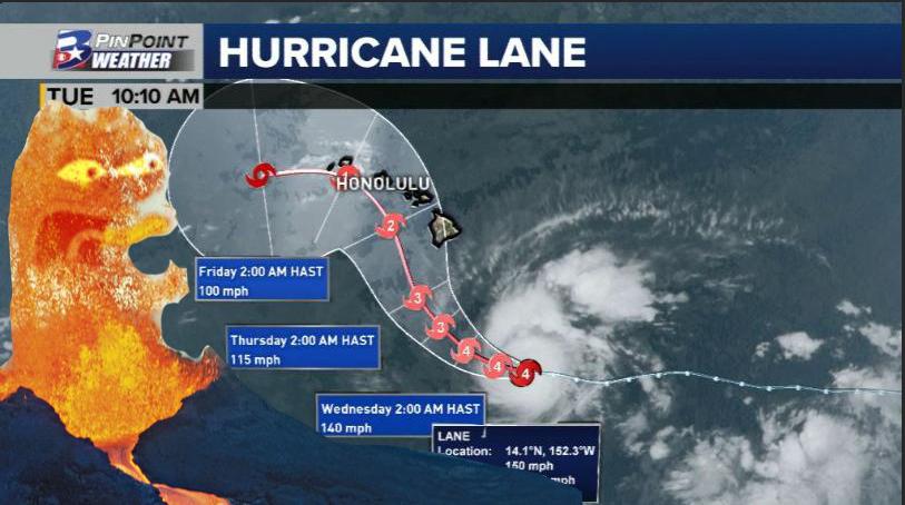 Hurricane Lane dumps on a volcano | 2018 Hurricane Lane