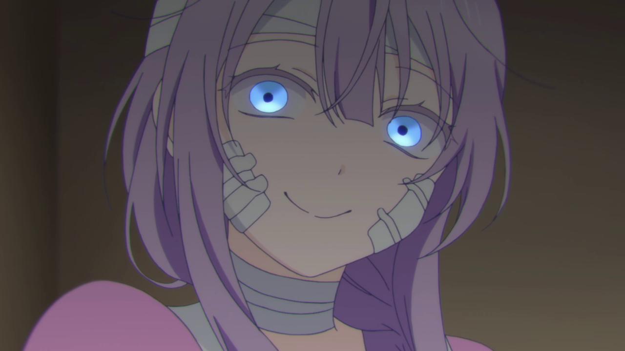 Blue anime face purple violet mammal human hair color vertebrate nose eye head cartoon snapshot black