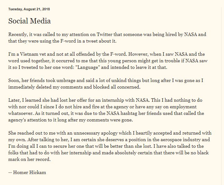 Homer Hickam blog post | NASA Internship Twitter Controversy | Know