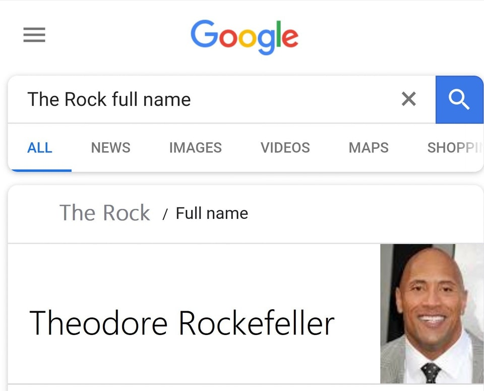 the rock real name google searches know your meme