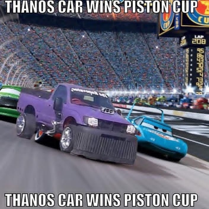 Image result for thanos car wins piston cup