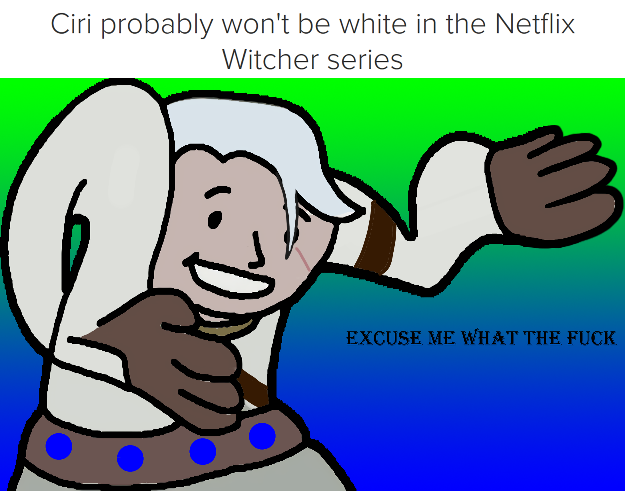 Ciri probably woni be whie in ihe noiflix witcher series excuse me what the