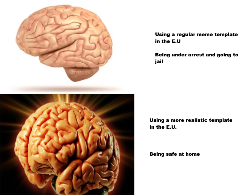 using a regular meme template in the eu being under arrest and going to jail using expanding brain