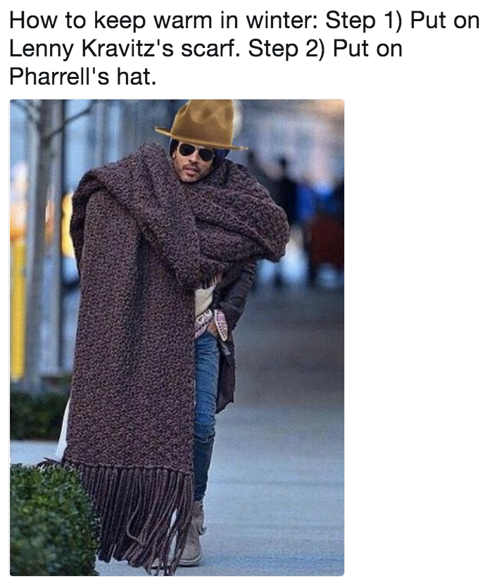 2cf7c1c80c7 How to keep warm in winter  Step 1) Put on Lenny Kravitz s scarf ...
