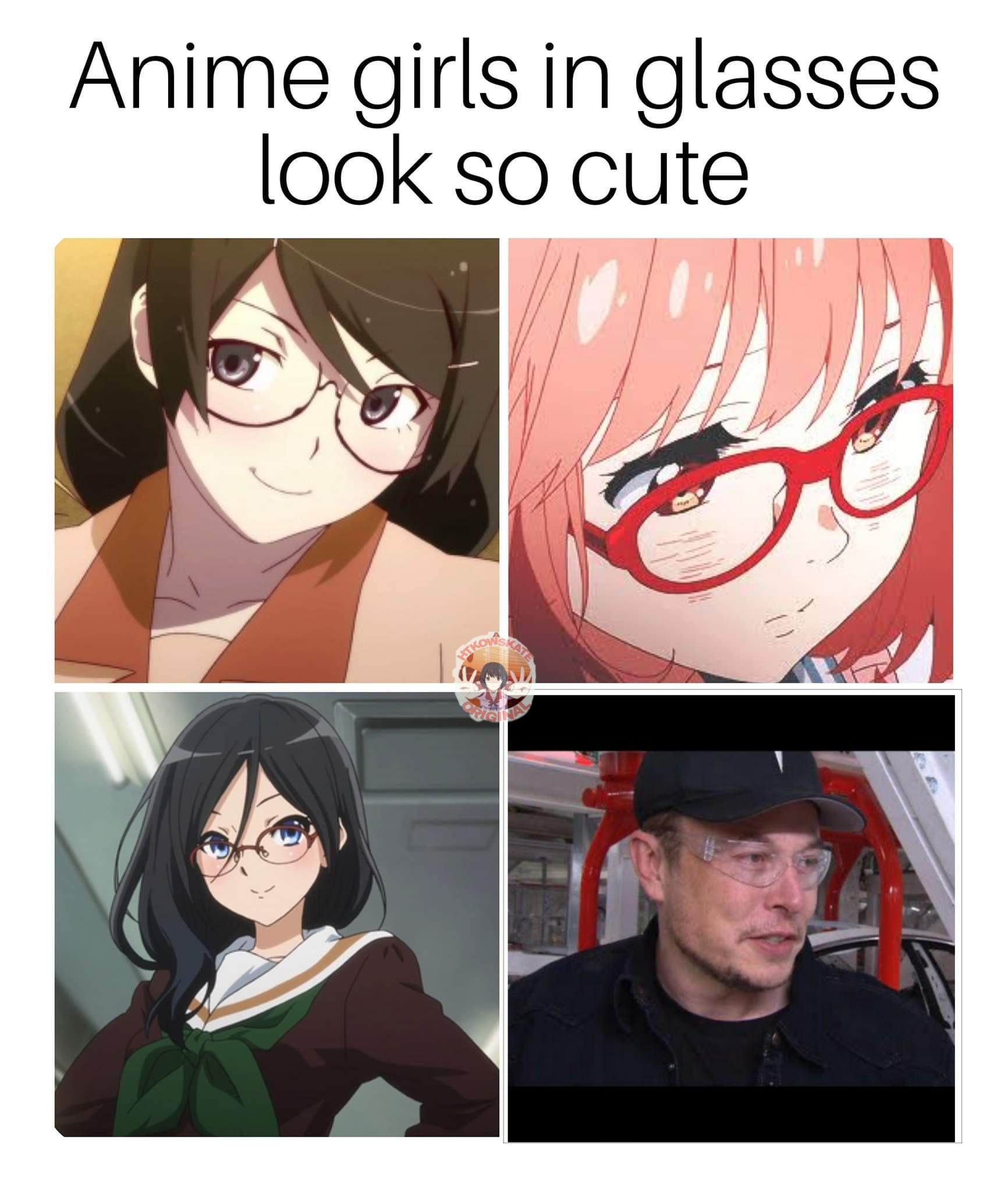 Anime girls in glasses look so cute