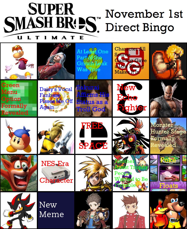 November 1st Direct Bingo Card Super Smash Brothers Ultimate