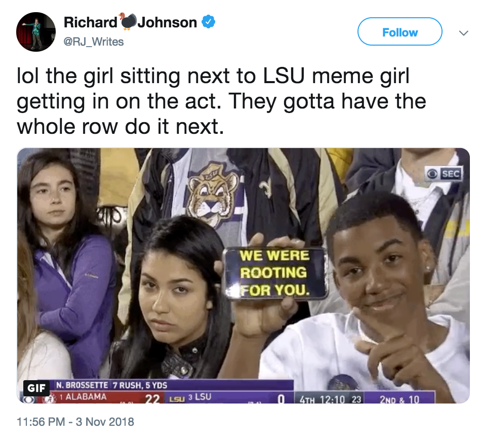 In On It Lsu Stare Girl Know Your Meme