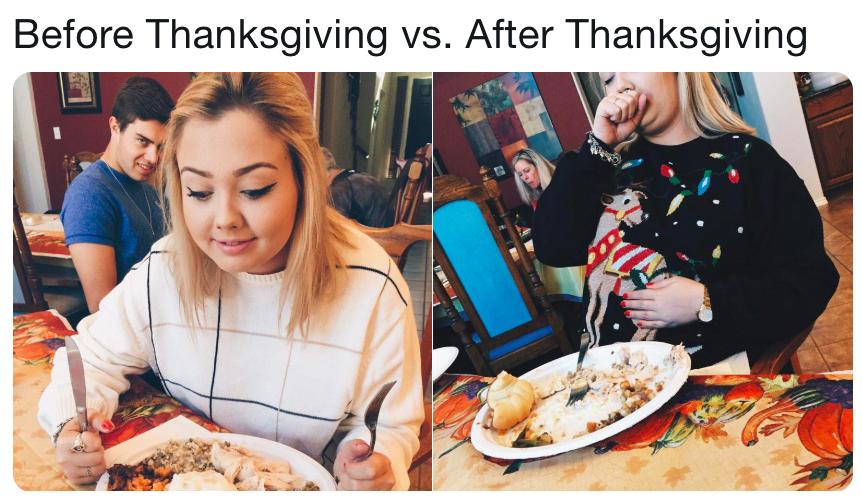 Christmas Before Thanksgiving Meme.Before Thanksgiving Vs After Thanksgiving Christmas Sweater
